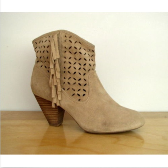 a438f56d986 Jessica Simpson Shoes - Jessica Simpson Orlina Suede Fringe Ankle Bootie 9